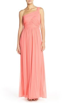 Alfred Sung One-ShoulderShirred ChiffonGown available at #Nordstrom