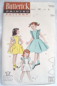 Vintage 50s Butterick pattern 7230 Toddler Pinafore Dress $11.99