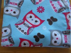 Baby blanket with cute owls with a aqua color background.The other side is white with pink and green dots. by MissyCraftsandGoods on Etsy