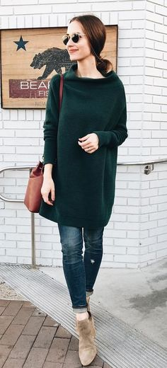 #fall #outfits  women's black sweat dress and black jeans outfit