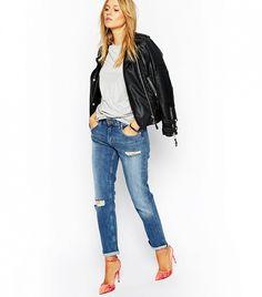 ASOS Kimmi Shrunken Boyfriend Jeans in Mia Mid Wash With Rips White  Distressed Jeans, White cefe9fed3de8