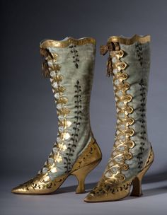 Velvet and gold leather button boots, c. 1870.