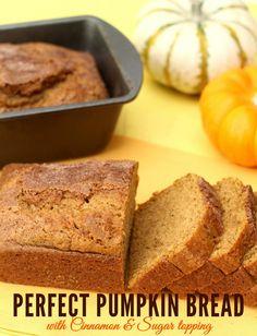 Perfect Cinnamon and Sugar Topped Pumpkin Bread!! #pumpkin #bread