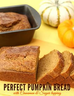 Perfect Cinnamon and Sugar Topped Pumpkin Bread!! #pumpkin #bread