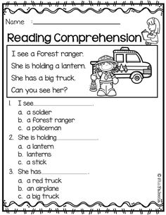 Free Reading Comprehension is suitable for Kindergarten students or beginning readers. First Grade Reading Comprehension, Comprehension Activities, Reading Fluency, Teaching Reading, Comprehension Questions, Free Kindergarten Worksheets, Reading Worksheets, Reading Activities, Printable Worksheets