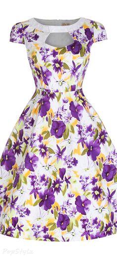 Lindy Bop 'Carmel' Graceful Vintage 50's Watercolour Floral Print Dress