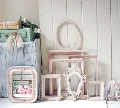 Blush Pink Ornate Vintage Frames Baby Pink Open Nursery Baby Girl Bassinet, Nursery Frames, Painted Picture Frames, Ornate Mirror, Shabby Chic Pink, Girl Nursery, Nursery Room, Vintage Frames, Blush Pink