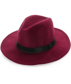This panama hat is crafted with a soft burgundy felt construction and a wide soft brim finished with a contrast black webbed band around the crown.