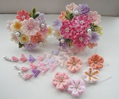 Ribbon Art, Ribbon Crafts, Flower Crafts, Cloth Flowers, Diy Flowers, Fabric Flowers, Kanzashi Tutorial, Flower Tutorial, Asian Hair Ornaments