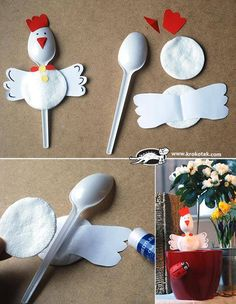Making chicken out of plastic spoons - DIY projects for children for Easter - DIY - Basteln mit Kindern - Welcome Crafts Kids Crafts, Preschool Crafts, Easter Crafts, Diy And Crafts, Craft Projects, Craft Ideas, Recycled Crafts, Wood Crafts, Project Ideas