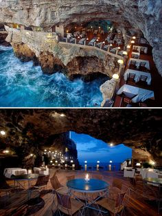 15+ Of The World's Most Amazing Restaurants To Eat In Before You Die.  Dine In The Cave, Ristorante Grotta Palazzese, Puglia, Italy