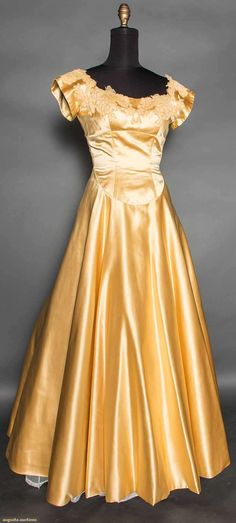 "Yellow silk satin Ball gown, Label ""Howard Shoup"", 1960s."