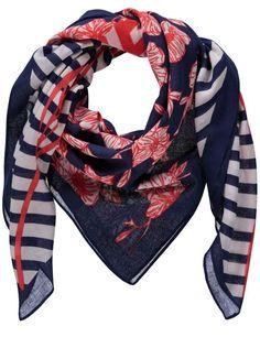 Sjaal Gerry Weber Summer Breeze food met marineblauw vierkant model