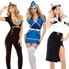 Womens sailor sexy uniform halloween fancydress costu, View more on the LINK: www.io/… Source by amandazwirgzdas Under The Sea Costumes, Playboy Bunny Costume, Stewardess Costume, Navy Costume, Dress Design Sketches, Professional Wear, Halloween Fancy Dress, Beautiful Lingerie, Costumes For Women