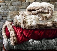 Pottery Barn Cable Throw with Fur Trim