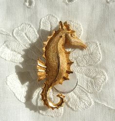 Seahorse Brooch Goldtone by BonniesVintageAttic on Etsy,