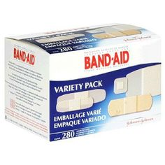 Band Aid Variety Pack, 280/BX, Sold as 1 box by Johnson & Johnson. $6.10. Sold as 1 box. Application/Usage: Securing Bandage, Assembly Required: No, Color: White. Features: Refillable, Waterproof, Sheer, wet-flex. 40 - 1 in x 3 in; 111 - 5/8 in x 2-1/4 in; 100 - 3/4 in x 3 in; 24 - 7/8 in x 7/8 in; 5 - 1-3/4 in x 4 in. Assorted sizes. Variety of sizes and shapes. Wet-Flex foam for extra cushioning that stays on when wet; Sheer, breathable protection to stay on long. Sterile un...