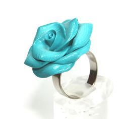 Elegant turquoise rose ring, adjustable ring, polymer clay rose ring... ($13) ❤ liked on Polyvore