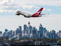 QF11 to LAX getting underway on a beautiful autumn afternoon here in Sydney from runway 34L. Qantas - Airbus A380-842.