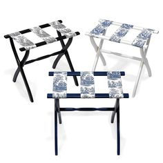 """Perfect to have on hand for guests, for packing and unpacking, or for holding a serving tray. Hardwood rack has sturdy toile canvas straps.     22 ½"""" x 13"""" x 19 ½"""" h."""