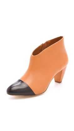 Loeffler Randall Nanette Cap Toe Booties  black and tan colorblock  $395
