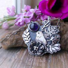 Fauna & Flora Necklace  Metalsmithed Bird Floral Necklace