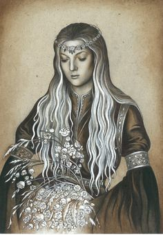 """Idril    -    """"But fairer than all the wonders of Gondolin was Idril, Turgon's daughter, she that was called Celebrindal, the Silver-foot, whose hair was as the gold of Laurelin before the coming of Melkor.""""     Idril by ebe-kastein.deviantart.com on @deviantART"""
