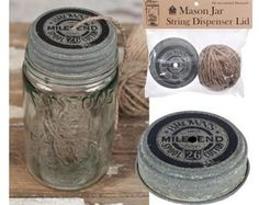 Mason Jar Love!!! Get this Mason Jar Vintage style twine dispenser from Magnolia Mercantile on Etsy. for just $8.95...so cute for your craft room, office or just for decoration!