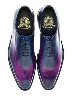 "Wholecut oxfords in purple/black Landry Lacour patina edition: Diamond Walker Royale Collection wholecut oxfords in Venezia grade full-grain Italian calfskin + hand painted ""Galaxian Aurora"" patina by Landry Lacour + Texon midsole reinforced with steel shank + full cowhide innerlining + handsewn welt + full leather outsole & heel"