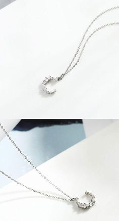 Size: Moon the Silver/ZirconStyle:Lover Gift/Girlfriend Gift/Unique/FashionFashion Element:Moon Zircon Pendant Pretty Necklaces, Cute Necklace, Girls Necklaces, Simple Necklace, Silver Pendant Necklace, Elephant Necklace, Necklace Designs, Fashion Necklace, Gifts For Women