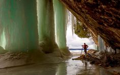 Ice caves in the Munising area of the beautiful state of Michigan!