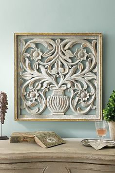 Rue Le Verrier Grille - French Grillwork Wall Hanging, Floral Gilt Frame Wall Hanging | Soft Surroundings