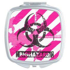 Pink Bio Hazard Cyber Gothic Compact Mirror by Gothic Toggs