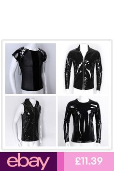 the latest 3f0b0 bf376 Men Wetlook PU Leather Splice T-shirt Hip Hop Tank Top Muscle Slim Tops  Clubwear