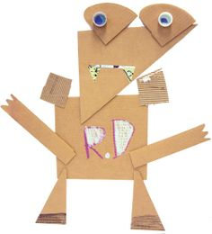 Cardboard Critters | Students are intrigued by James Castle's constructions and his method of combining and layering bits of cardboard to create barnyard creatures. #EarlyChildhood #ArtLesson #ArtEd #ArtEducation #StudentArt