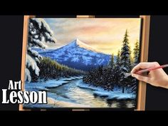 Acrylic Landscape Painting Lesson | Morning mountains with stream - YouTube