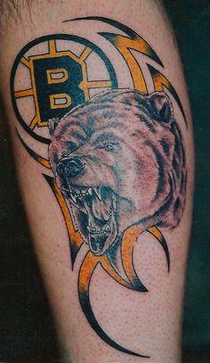 Reppin the boys in Balck & Yellow - Pin Tool Ram Tattoo, Tiki Tattoo, Doodle Tattoo, Sport Tattoos, Bear Tattoos, Cool Tribal Tattoos, Cool Tattoos, Shamrock Tattoos, Boston Bruins Hockey
