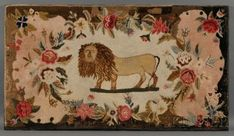 Wool Figural Hooked Rug with Lion