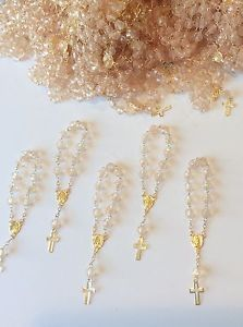 30 Mini Rosary Off White Baptism Favors /Gold Plated /Communion Favor/recuerdito Communion Party Favors, Baptism Party Favors, Christening Favors, Homemade Wedding Favors, Elegant Wedding Favors, Wedding Favors Cheap, Wedding Ideas, Girl Baptism Party, Baby Boy Baptism