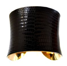 Black Lizard Leather Metal Cuff Bracelet  by by UNEARTHED on Etsy, $90.00
