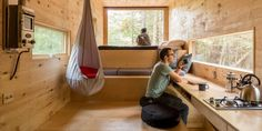 Harvard Students Offer Tiny Cabins in the Woods for Stressed-Out City Dwellers Tiny House Swoon, Tiny House Living, Tiny House Design, Tiny House Cabin, Living Room, Cabins In The Woods, House In The Woods, Harvard Students, Microhouse