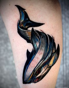 David Hale Tattoo shark with color