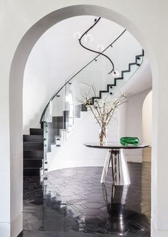 A Beverly Hills Manse by Maine Design Friday Jr, Happy Friday, Cast Iron Bathtub, Neon Lamp, Beverly Hills Houses, Interior Architecture, Interior Design, Big Design, Stairs