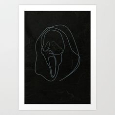 One Line Scream Art Print by quibe - $18.72