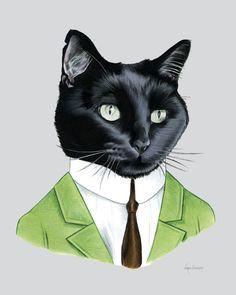 Art Black Cat Gentleman imprimer 8 x 10 par berkleyillustration, $18,00