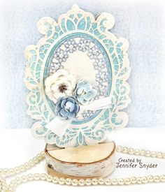 Scrap Escape blog - DIY Tutorial to create a unique and graceful shaped card- with gorgeous papers from Maja Design and dies from Spellbinders designed by Becca Feeken.    (and flowers from Petaloo by Floracraft).   #NeverStopMaking  #Spellbinders #spellbloggers