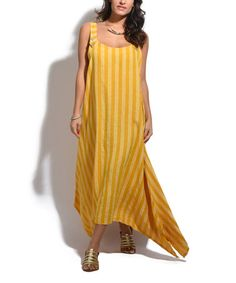 Wow power on this dress....and vertical slimming stripes. I can see this paired with a belt and a jacket....Mustard Stripe Asymmetrical Maxi Dress #zulily #zulilyfinds