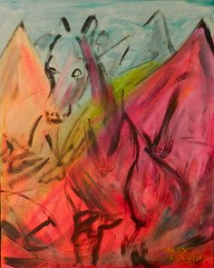 Horsing Around  Original Acylic Painting by Alex by TheLaceGallery