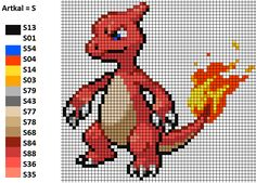 I worked with this pattern to make my Charmeleon. On the left you can see the matching Artkal and Hama colors. Glutexo Bead Pattern Perler Artkal Hama Nabbi Pokemon Nintendo Unpixable