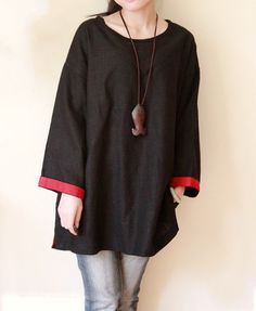 Linen pullover Spring shirt/ Loose 9 cents sleeve shirt by MaLieb, $75.00
